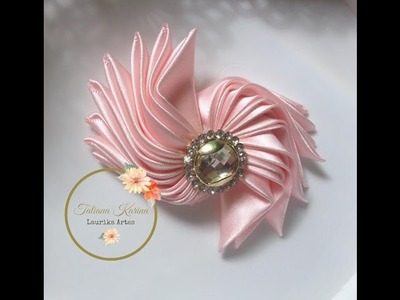 Laço Kanzashi 6 by Tatiana Karina-  How to make kanzashi tie - Monõs DIY Tutorial PAP