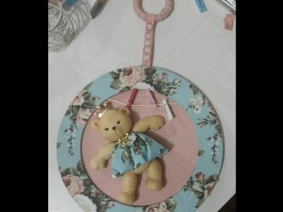 Moldura porta de maternidade, Mdf, biscuit tecido