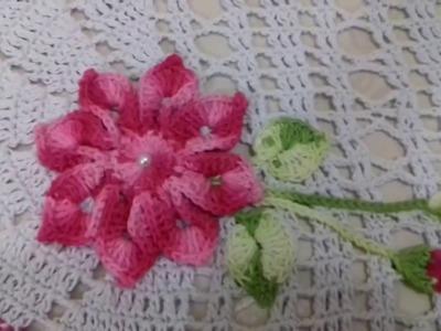 Como fazer flor botões e folhas de croche para tapete passo a passo