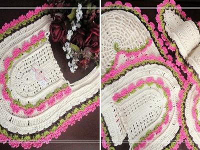 Como Fazer TAPETE FRENTE DO VASO em Crochê | Jogo de Banheiro | com Elizabeth Atelier