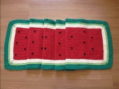 Tapete retangular Melancia Watermelon crochê - Professora Maria Rita
