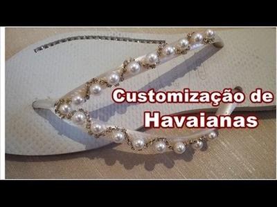 Customização de Havaianas com Pérolas e Strass DiY - (participação de Valéria canal Receitinhas)
