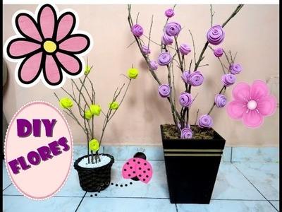 DIY Como fazer arranjo de flores com galhos secos e EVA