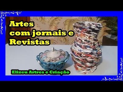 Diy Vazo com Jornais e Revistas