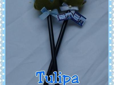 Passo a passo: Tulipa de feltro no lápis