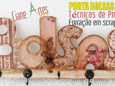 PORTA BOLSAS MDF TÉCNICAS DE PINTURA FORRAÇÃO EM SCRAPBOOK