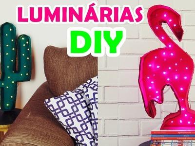 DIY LUMINÁRIAS DECORATIVAS de FLAMINGO E CACTO |  Ally Arruda