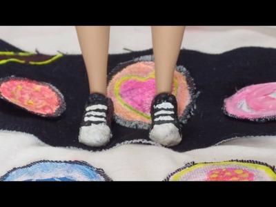 DIY tênis com cola quente para Barbie-Dica de Boneca