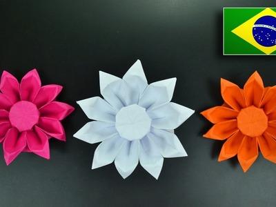 Origami: Flor Gérbera - Instruções em Português BR