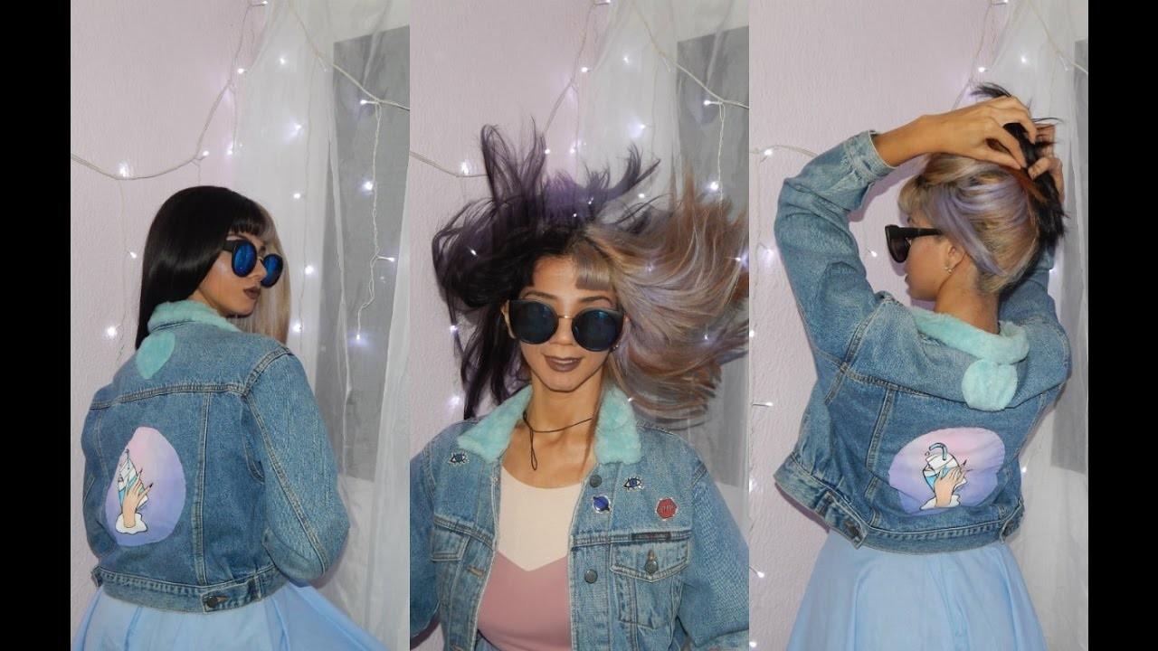 DIY customizando jaqueta jeans BABY GIRL