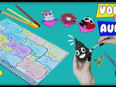 Ideias Legais Volta às Aulas: DIY Apontador Emoji, Caderno Kawaii, Marcador Unicórnio