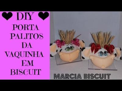 DIY- PORTA PALITOS DA VAQUINHA EM BISCUIT BY MARCIA BISCUIT