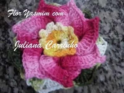 Passo a passo de flor yasmin em croche
