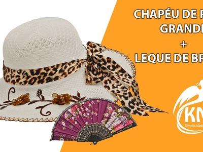 CHAPÉU FEMININO DE PRAIA FLOPPY ABA GRANDE COM FLORES + BRINDE
