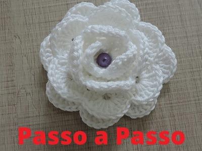 Como Fazer flor Branca de Croche  COMPLETO 2016