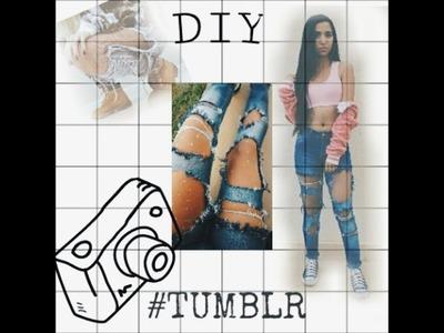 DIY KYLIE JENNER RHINESTONE FISHNETS. Calça Jeans destruída e meia calça com Strass + Look !
