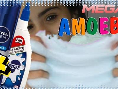 DIY: MEGA AMOEBA NEVE com espuma de barbear COMO FAZER! Giant  Fluffy Slime!