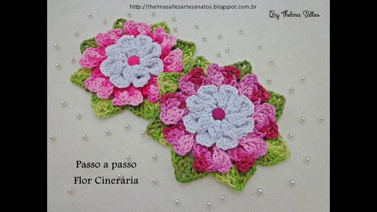 Flor Cinerária em crochê - Pap em fotos