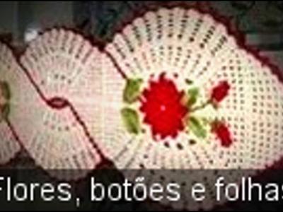 FLORES, FOLHAS E BOTÕES DO CAMINHO. CENTRO DE MESA INFINITO EM CROCHÊ
