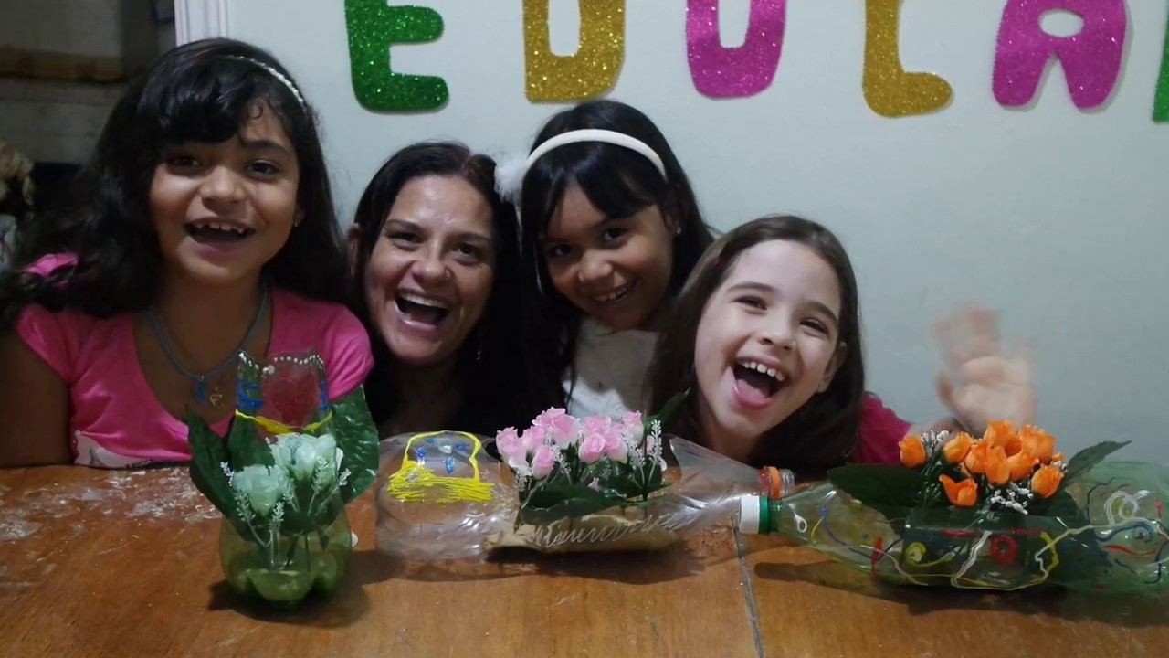Reciclar e Educar -  Vaso de Flor feito com Garrafa PET