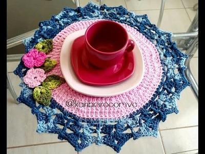 Sousplat em Crochê Flores - Blog www.katiaribeiro.com.br