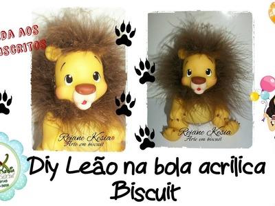 Diy Leão na bola acrilica - Rejane Kesia