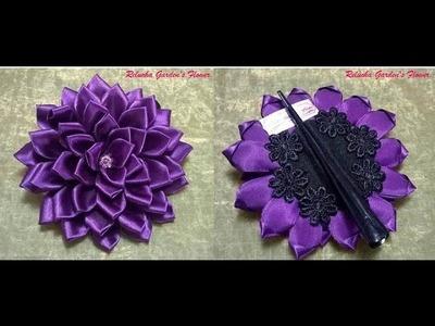 Kanzashi #68 - Flor de Tecido Cetim - 2 opções no mesmo vídeo ! Aproveite!! - DIY .