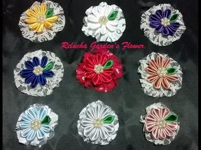 Kanzashi #75 - Lindas flores,  PARA ROUPAS , BROCHES OU CABELO - DIY - Satin Flower