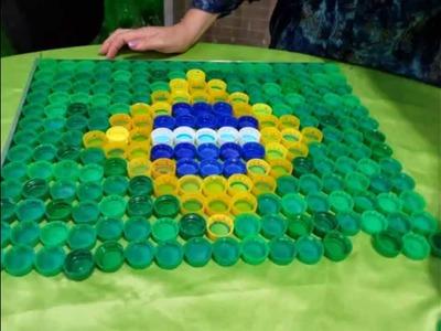 Como fazer Bandeira do Brasil De Tampas pet