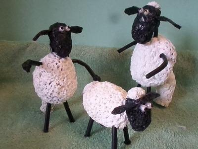 Como fazer Carneiro do filme Shaun the sheep de sacolas Prastica.