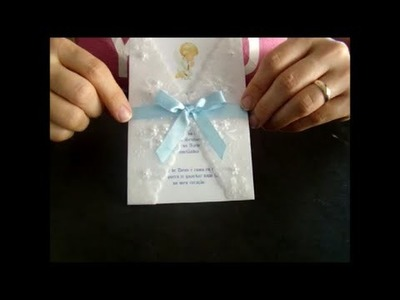 DIY Passo a passo convite com papel vegetal Batizado ou 1 comunhão