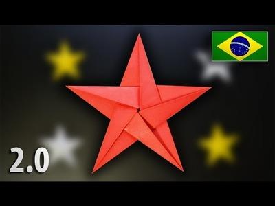Origami: Estrela de 5 Pontas 2.0 - Instruções em Português BR