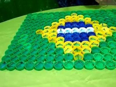 PASSO A PASSO BANDEIRA DO BRASIL DE TAMPAS PET. DECORATION WOLD CUP