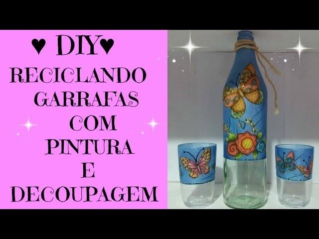 DIY-RECICLANDO GARRAFAS DE VIDRO COM PINTURA E DECOUPAGEM BY MARCIA BISCUIT