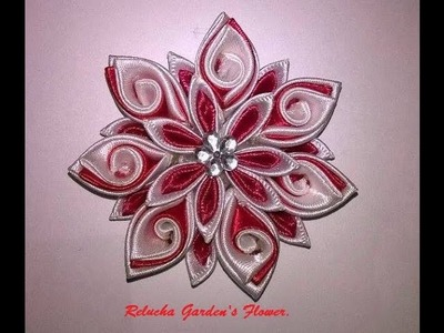 Kanzashi #19 - Flor de Cetim. DIY - Satin Flower.Fiore di Raso.Satin-Blume.サテン花
