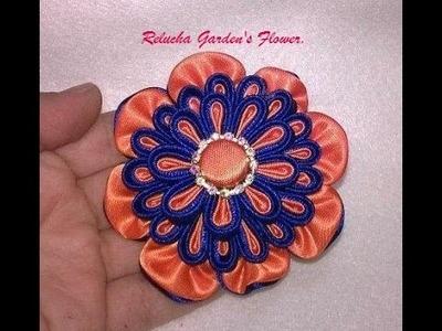 Kanzashi #54 -  Flor de Tecido Cetim - DIY - Satin Flower.Satin-Blume.サテン花