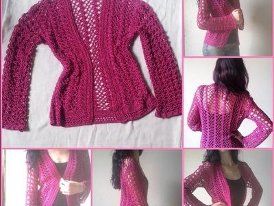 Cardigan. Casaquinho em Croche. Crochet Cardigan. Crochet cover up. Crochet lace cardigan