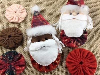 Como fazer papai noel de fuxico - Enfeite de Natal - Artesanato com feltro - Passo a Passo