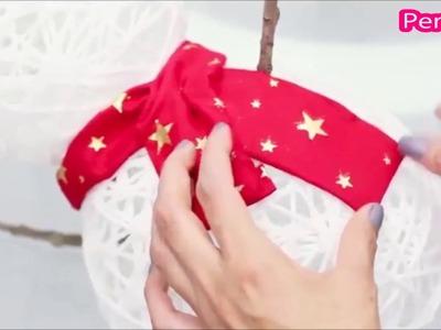 DIY Boneco de Neve com bexiga e linha