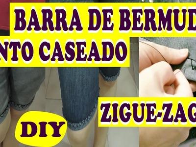 ✂DIY Como Fazer Barra de Bermuda.SHORT À MÃO VIRADA PRA FORA, com Ponto Caseado ZIGUE-ZAGUE