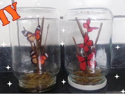 DIY arranjo de borboletas no vidro