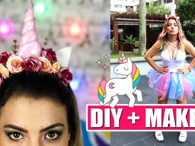 DIY FANTASIA E MAKE UNICÓRNIO #Carnaval | Kathy Castricini