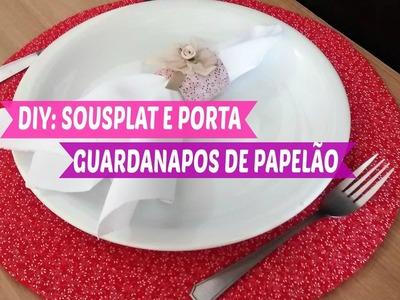 DIY: SOUSPLAT E PORTA GUARDANAPOS DE PAPELÃO | Carla Oliveira