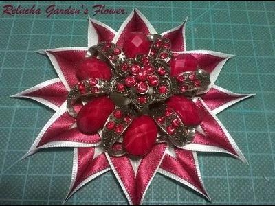 Kanzashi  #98 - Flor Tecido Cetim-   STAR ! DIY . サテン花. 簪