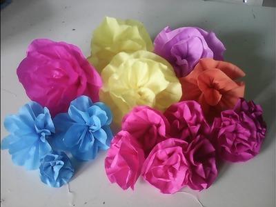 Flor de  papel crepom para decoração de festa. buquês.mesa fácil de fazer (3 modelos)