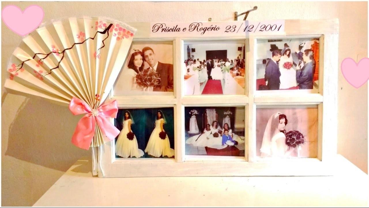 ❤ Janela antiga com fotos na decoração de casamento