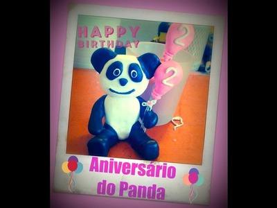 Panda Party! Decoração de bolo de aniversário em Fimo
