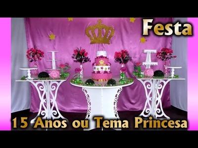 Decoração de Festa 15 Anos ou Princesa Rosa e Dourado - Aniversario infantil. Fiesta. Party kids