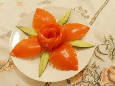 Decoração para salada - Flor de tomate.Tomato Rose (Flower Carving)