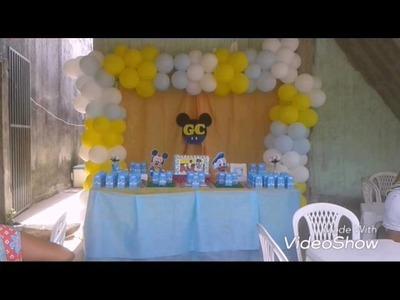 Mae Festeira: decoração Mickey baby. Aniversário carlos faz 1. Festa simples. Festa em casa.